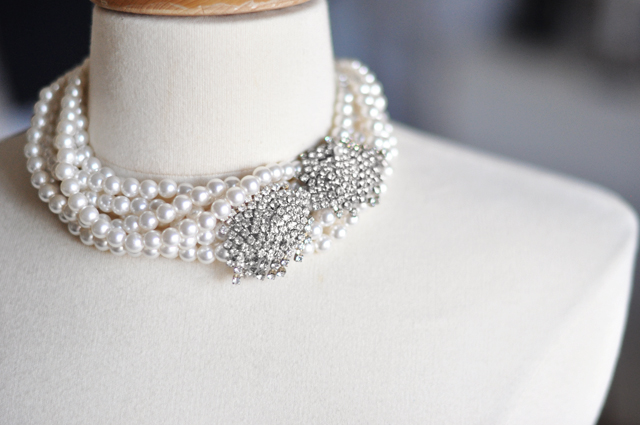 vintage rhinestones  on a pearl choker necklace