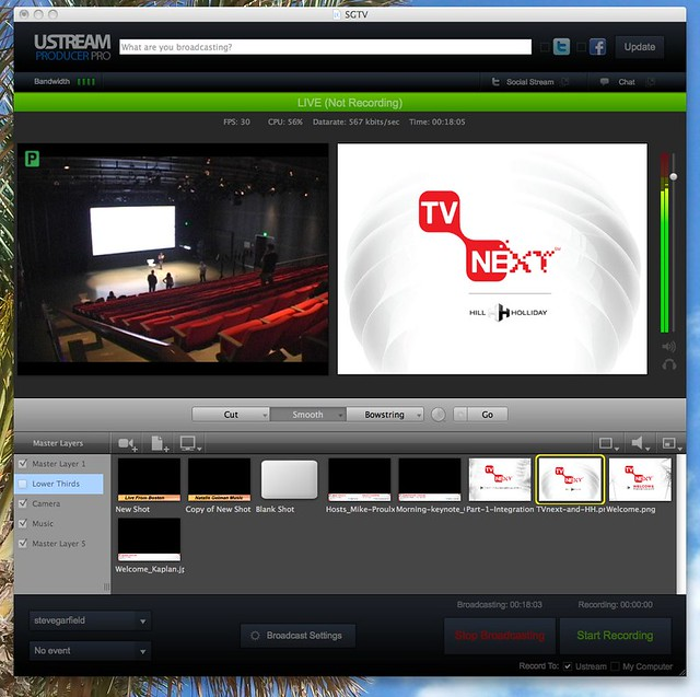 #TVnext Testing Setup and Graphics with UStream