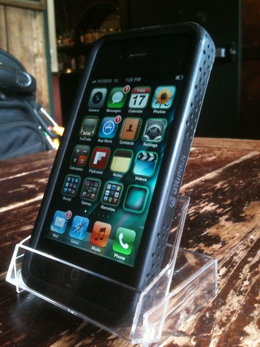 Super-inexpensive iPhone stand using a MiniDV tape case by WTL-Ottawa