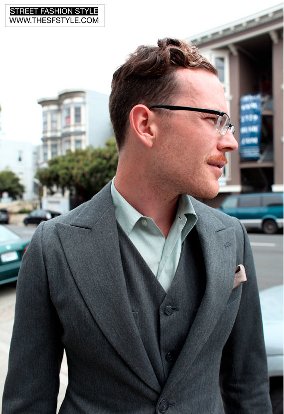 jamessuit three piece suit, man morsel monday,  suits, street fashion style, san francisco,