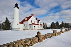 Winter at Point Iroquois Lighthouse - Whitefish Bay, Michigan by Michigan Nut