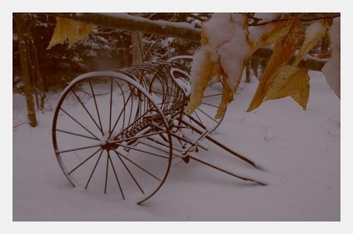 snow leaves wheels retro rake