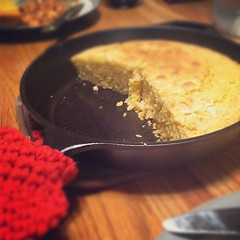 My homemade skillet cornbread got audible groans from the guys.... #winning