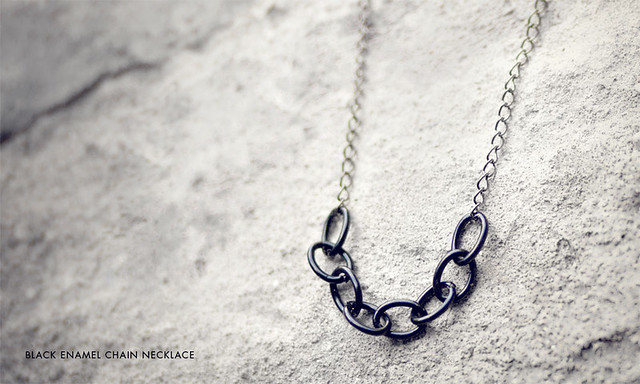 Black Enamel Chain Necklace