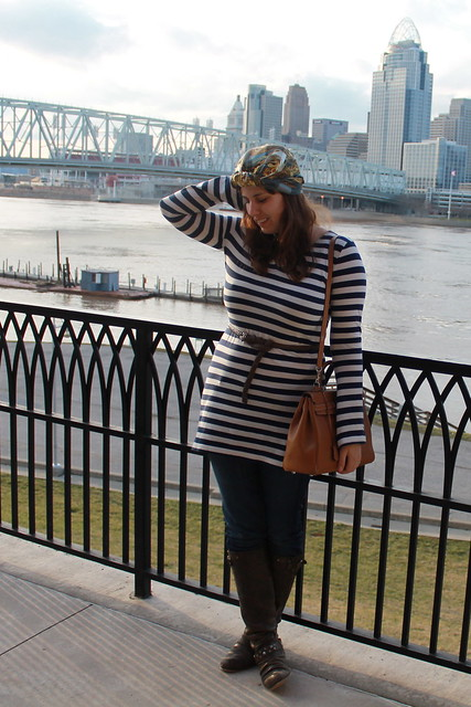 Nautical turban outfit: leather boots, straight-leg Gap jeans, striped Converse tunic, braided leather belt, Kelly bag, silk scarf worn as turbin