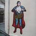 superman by RNST street art - stencil pochoir by RNST artiste pochoir stencil
