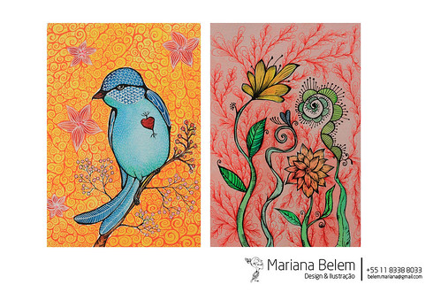 :: Blue bird e Flores by mariana.belem