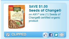 Seeds Of Change Certified Organic Product Coupon