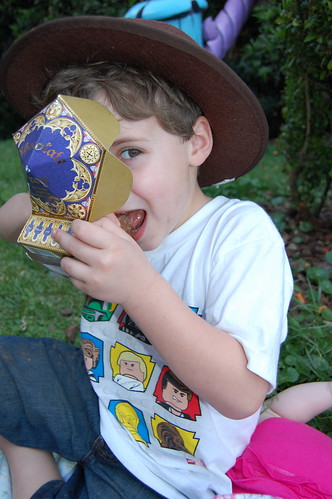 Clark eating his chocolate frog.