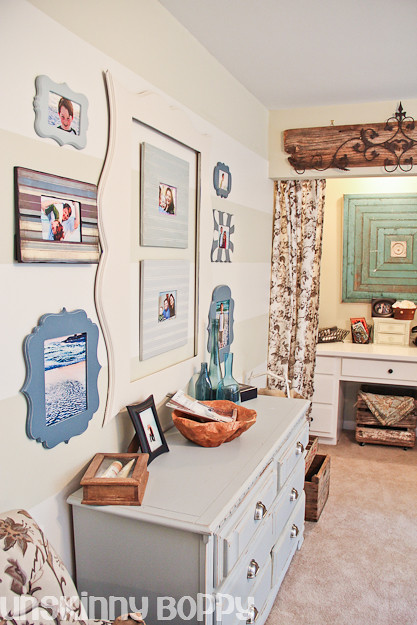 striped walls with funky frames
