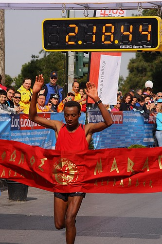 Teklu Geto Metaferia from Ethiopia placing first, finishing the 42.195 kilometer course in 2 hours, 18 minutes and 44 seconds. by Teacher Dude's BBQ