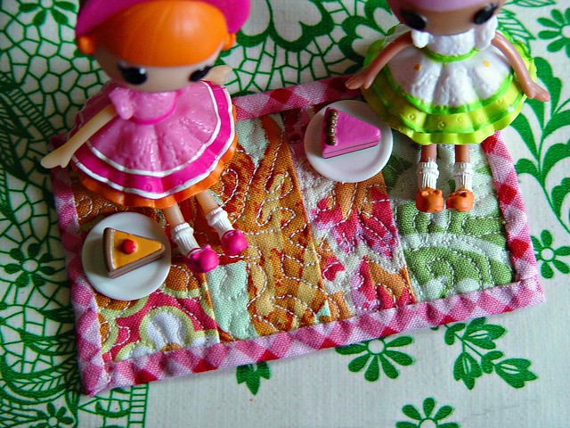 picnic with friends on a tiny quilt