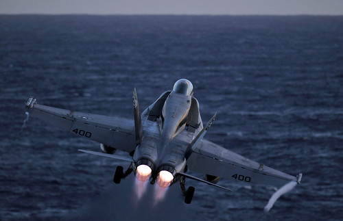 An F/A-18C Hornet launches.