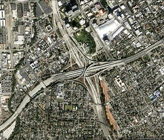 freeways in downtown San Jose (via Google Earth)