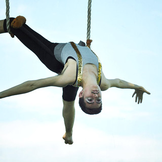 Sarah Nicolazzo on trapeze. Photo by Anne Saint Peter