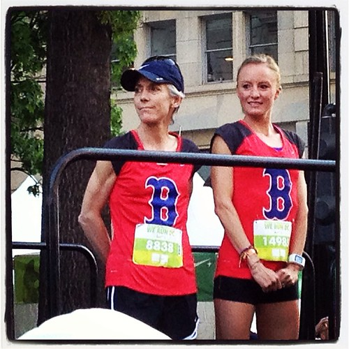 Shalane and Joan rockin their #bostonstrong shirts at the Nike Women's Half.