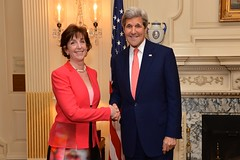 U.S. Secretary of State John Kerry poses for a photo with newly sworn-in U.S. Ambassador to Mexico Roberta Jacobson during a ceremony at the U.S. Department of State in Washington, D.C., on May 5, 2016. [State Department photo/ Public Domain]