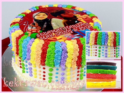 Italian Rainbow Cake with Edible Image