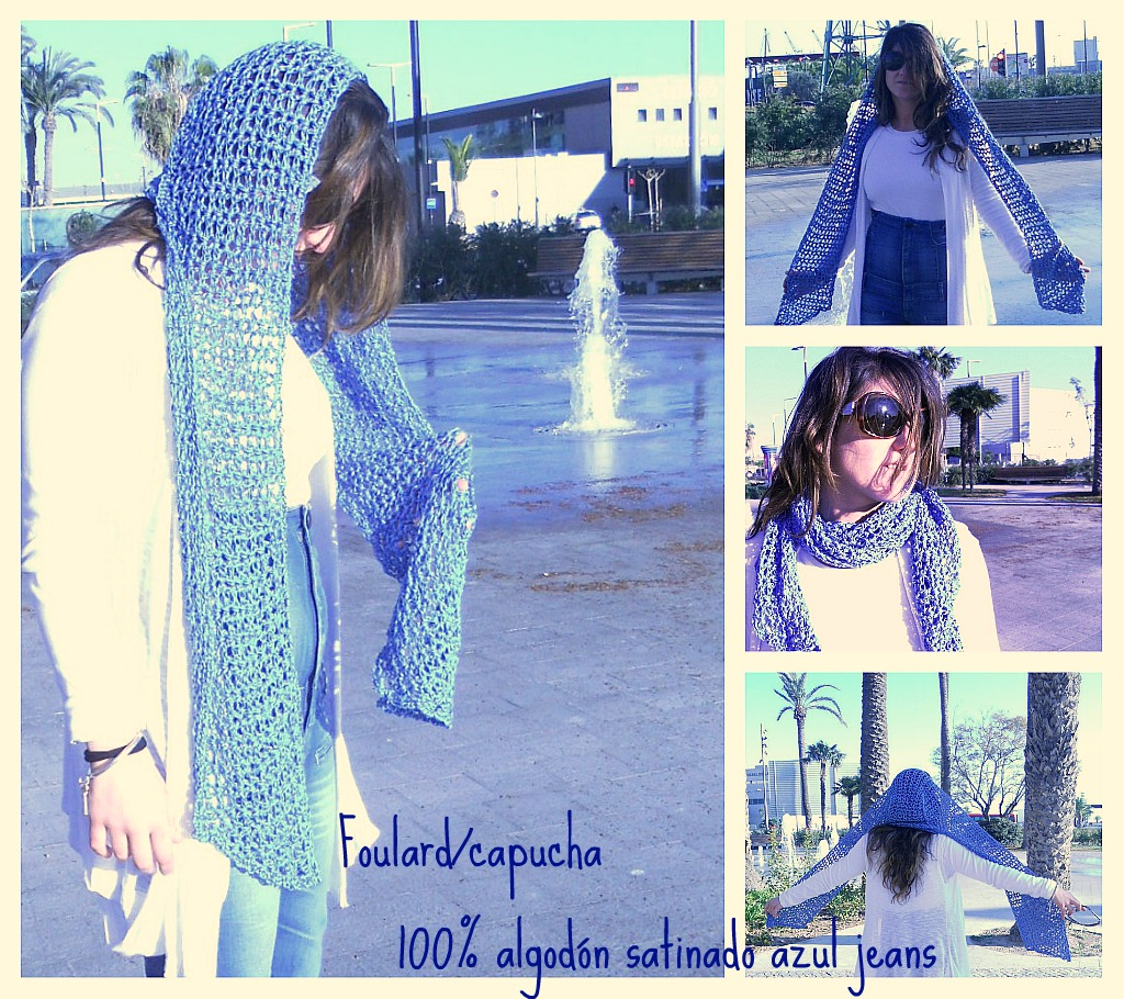 Foulard / capucha en 100% algodón satinado azul