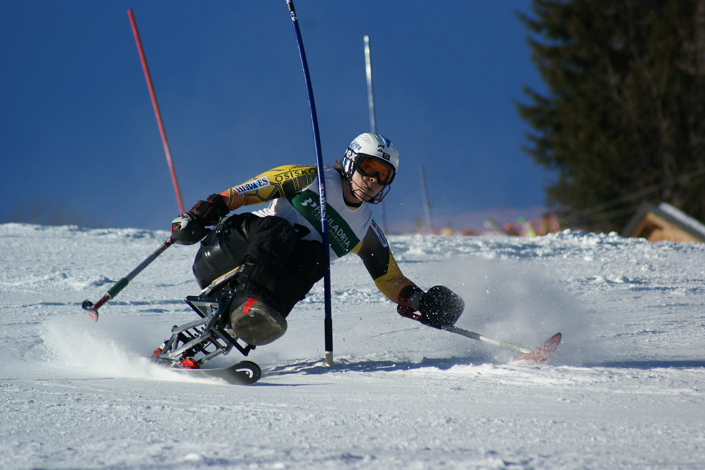 Kimberly Joines in action in World Cup slalom in Arta Terme, Italy