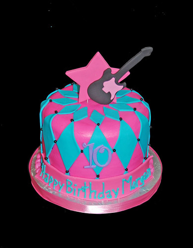 10th birthday pink purple and aqua rock star cupcake tower topper cake