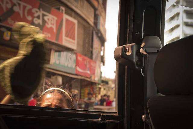 Girl Wiping Car Window, Dhaka