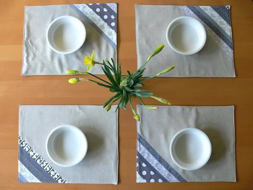 Jenny: Grey Stripe Patchwork Placemats