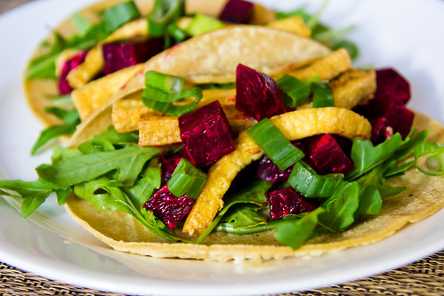 Beet Tacos with Arugula and Crunchy Tofu