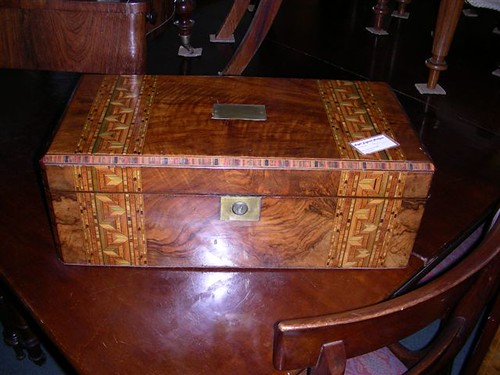 A Victorian walnut writing box with parquetry inlay