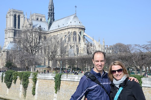 K&B on Pont de L'Archeveche, Paris. View to Notre Dame.