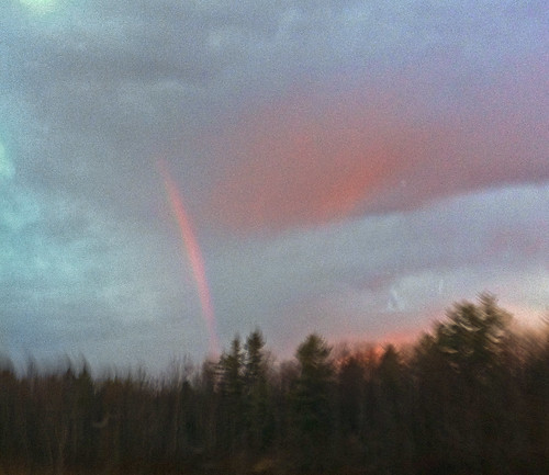 cameraphone blue trees red clouds sunrise grey rainbow woods iphone