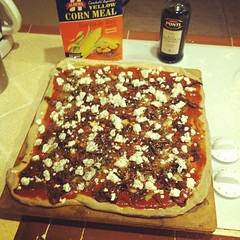 Caramelized onion, roasted garlic, goat cheese pizza. It's what's for dinner