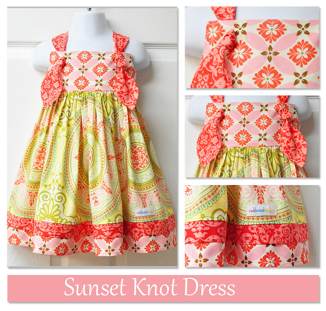 sunset knot dress collage