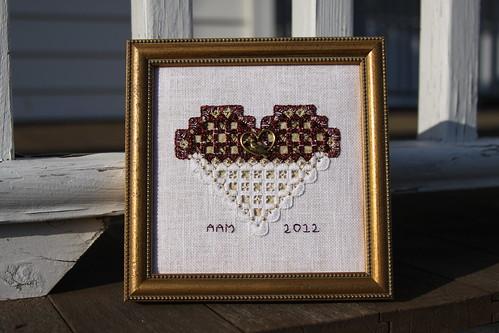 Framed February Hardanger Heart