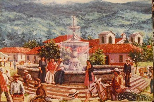 Braulio Vega Guzmán-Pintura-Fuente Plaza Principal Cartago by Reyleomessi