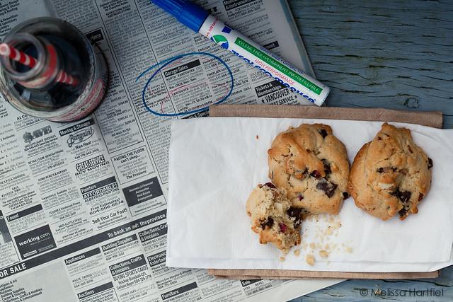 cookies, soda and newspaper listings