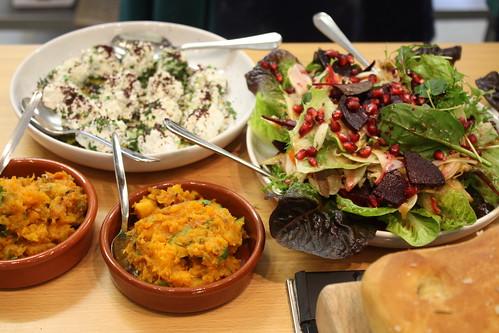 Squash Bissara,Labna & Fennel & Pomegranate Salad