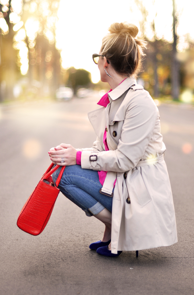 short trench - red bag- blue shoes- pink blouse