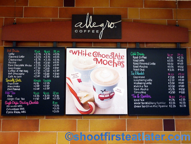 Allegro Coffee menu