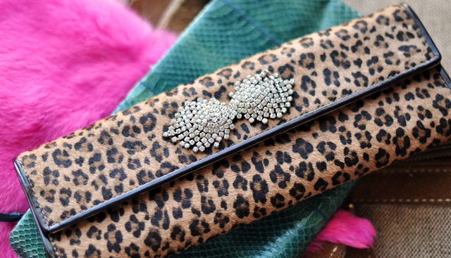 leopard clutch-snakeskin clutch-pink fur-vintage rhinestones