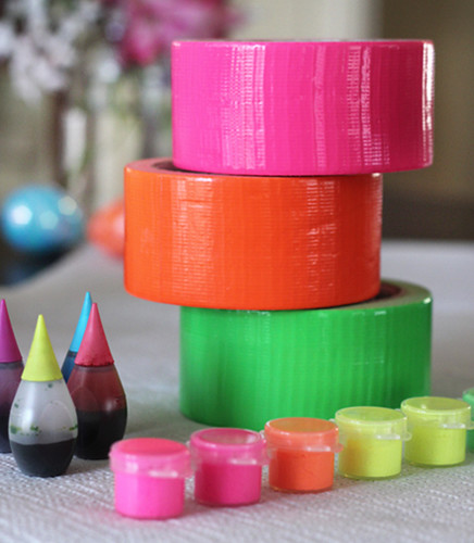 neon color duct tape, food coloring and paint