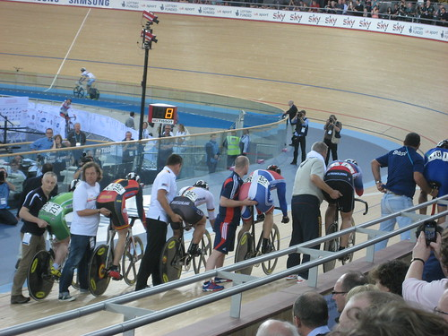 Chris Hoy lining up for the Keirin