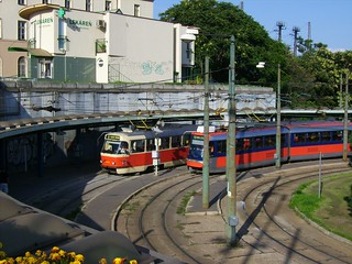 Old and new tram in Bratislava, Slovakia