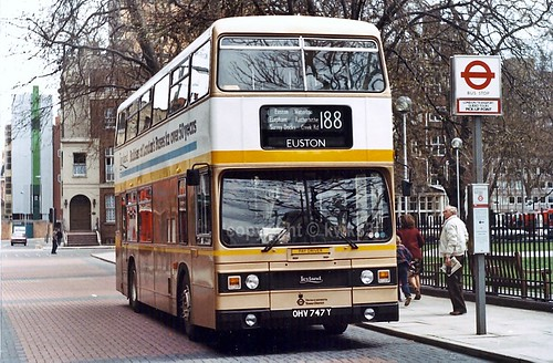 In 1983 London Transport celebrated its Golden Jubilee, in March of that year they took delivery of a brand new Titan, T747 (OHV 747Y). At first glance T747 appeared to be more of a celebration of Leyland rather than London Transport, decorated as it was with Leyland oriented branding adorning its gold livery with white and yellow trim.