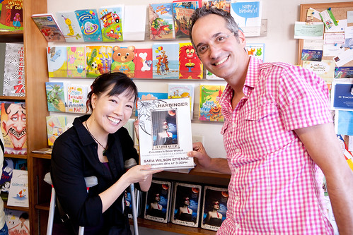 Sara's proud writing group—me (Rita Crayon Huang) and Lee Wind—at the book launch for HARBINGER