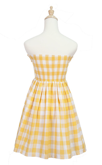 Gingham Tube Dress-Back