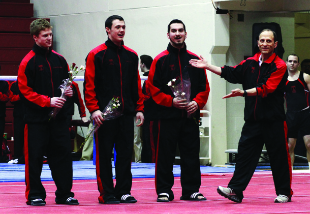 Temple's Senior Gymnasts Patrick McLaughlin, Tyler Croteau, Christopher Bizub and Head Coach Fred Turoff