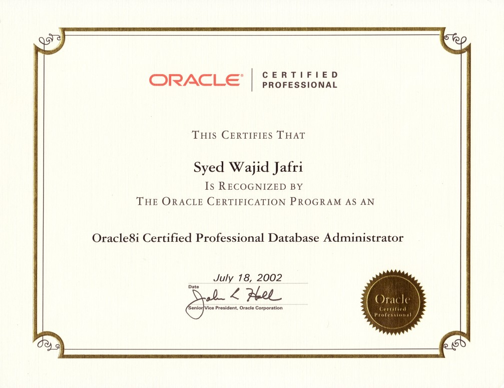 oracle certified database administrator sample resume