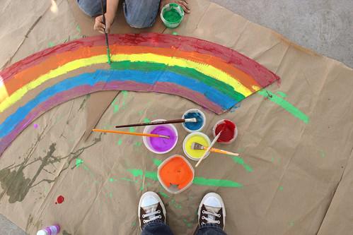 painting a cardboard rainbow
