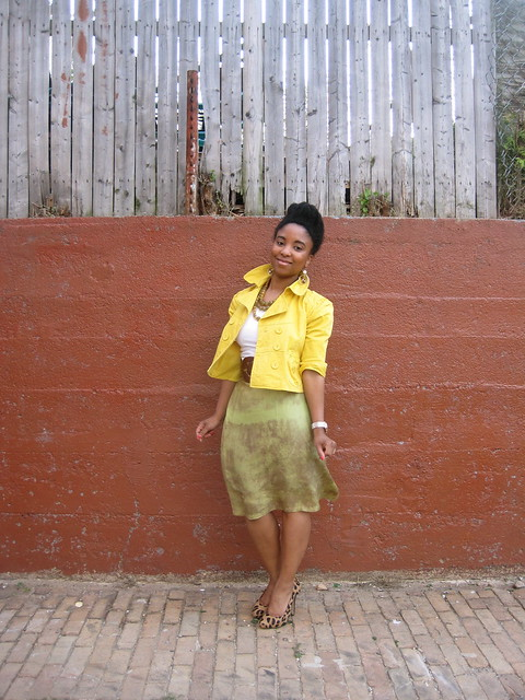 yellow cropped blazer and silk skirt 2